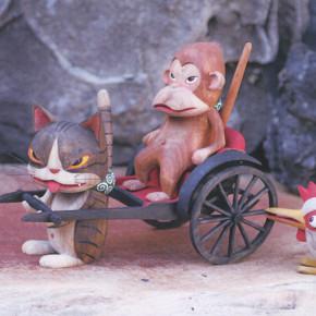 小生意気な猫とその仲間たち  ー春編ー 遠藤正美  木彫展